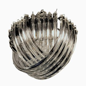 Kronleuchter mit Dreiflächnerbehang aus Muranoglas von Carlo Nason, 1960er