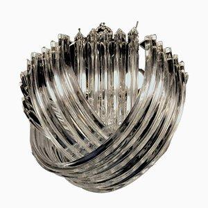 Lámpara de araña Trihedron curvada de cristal de Murano de Carlo Nason, años 60