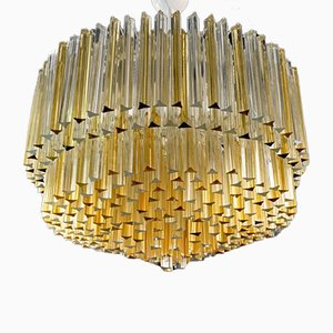Clear and Amber Murano Glass Triedi Chandelier from Venini, 1980s