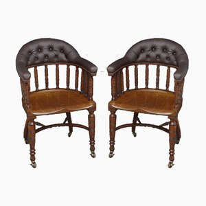 Antique Edwardian Mahogany Armchairs, Set of 2