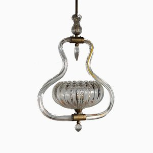 Brass and Murano Glass Ceiling Lamp by Ercole Barovier, 1930s