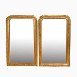 Spiegel mit vergoldetem Holzrahmen, 19. Jh., 2er Set