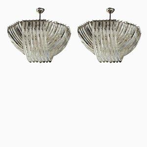 Lámparas de araña Curriedti Triedi grandes de cristal de Murano de Carlo Nason, años 80. Juego de 2