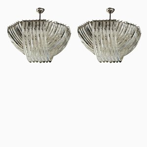 Large Curvati Murano Glass Triedi Chandeliers by Carlo Nason, 1980s, Set of 2