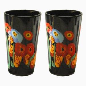 Flowered Murano Glass Vases by Hans Peter Neidhardt, 1970s, Set of 2