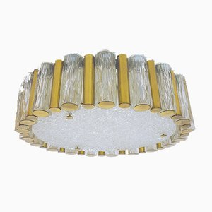 Mid-Century German Murano Glass and Brass Ceiling Lamp from Kaiser Idell / Kaiser Leuchten, 1960s