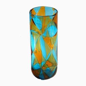 Aquamarine and Amber Intarsi Vase by Ercole Barovier, 1976