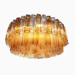 Lampadario vintage in vetro di Murano trasparente e ambrato di Toni Zuccheri per Venini