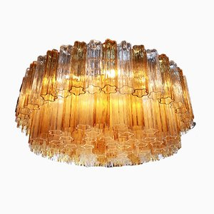 Vintage Clear and Amber Murano Glass Chandelier by Toni Zuccheri for Venini