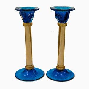 Kobaltblaue Vintage Kerzenständer aus Muranoglas und Blattgolddekor von Romano Dona, 2er Set