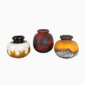 Vintage German Fat Lava Vases from Scheurich, Set of 3