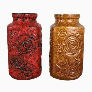 Deutsche Vintage Modell Jura 282-20 Fat Lava Vasen von Scheurich, 2er Set