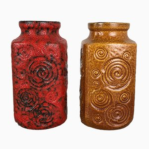 Vintage German Model Jura 282-20 Fat Lava Vases from Scheurich, Set of 2