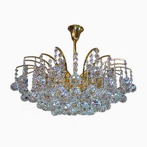Deutscher Kronleuchter aus vergoldetem Messing & Swarovski Kristallglas von Christoph Palme für Palwa, 1960er