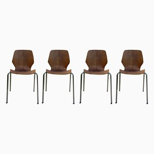Mid-Century Norwegian Bentwood Stacking Chairs from Westnofa, 1950s, Set of 4