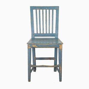Antiker blauer schwedischer Farmhausstuhl