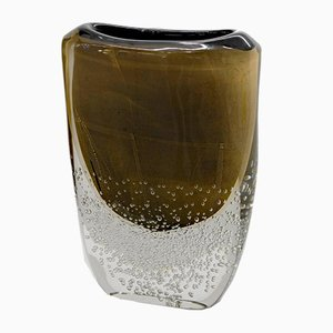 Incalmo Murano Glass Black and Gold Vase by Romano Dona, 1990s