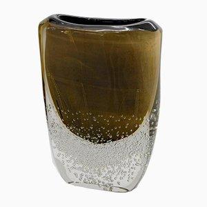 Vaso Incalmo in vetro di Murano nero e oro di Romano Dona, anni '90
