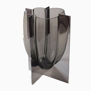 Vintage Stainless Steel and Gray Acciaio Vase by Carlo Nason