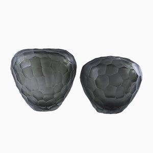 Jarrones vintage de cristal de Murano. Juego de 2