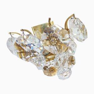 German Crystal and Brass Sconces by Christoph Palme, 1960s, Set of 2