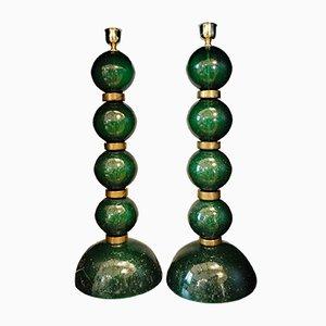 Lámparas de mesa Pulegoso vintage de cristal de Murano verde de Alberto Donà. Juego de 2