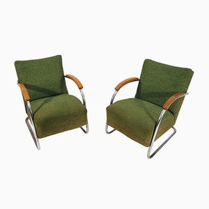 Tschechische Sessel mit verchromtem Gestell von Mücke Melder, 1940er, 2er Set