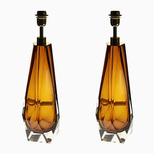 Vintage Murano Glass Table Lamps by Alberto Donà, Set of 2
