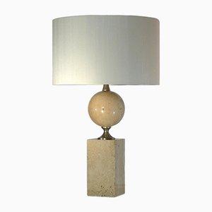 Lampe de Bureau en Travertin par Philippe Barbier, années 70