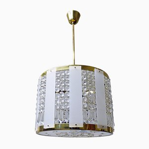 Mid-Century Crystal, Brass, and Lucite Drum Pendant Lamp by Jablonecke, 1950s
