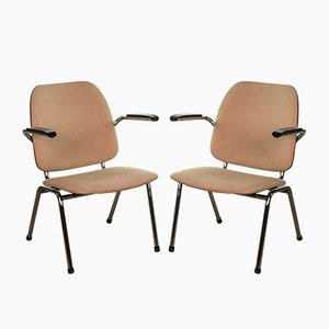Chrome and Bakelite Armchairs by Martin de Wit for Gispen, 1960s, Set of 2