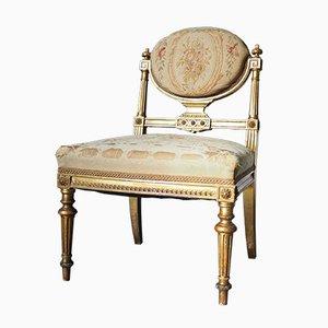 Antiker vergoldeter Louis XVI Beistellstuhl