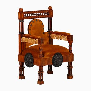 Italian Liberty Throne Armchair by Eugenio Quarti, 1920s