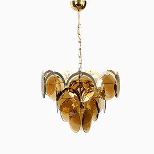 Lámpara de araña alemana grande de vidrio y latón, años 60