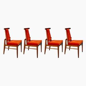 Beistellstühle mit Bezug in dunklem Orange von James Mont, 1950er, 4er Set