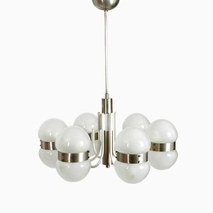 Italian Space Age Metal and Glass Chandelier, 1960s