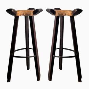 Vintage Wood and Cow Leather Stools, 1930s, Set of 2