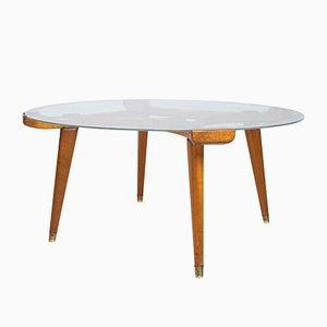 Table Basse Ronde en Verre et Chêne par William Watting pour Fristho, années 50