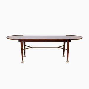 Vintage Mahogany and Brass Coffee Table by A. A. Patijn for Zijlstra Joure, 1950s