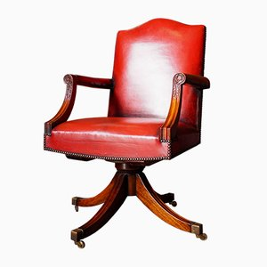 Antique Georgian Red Leather and Mahogany Swivel Chair