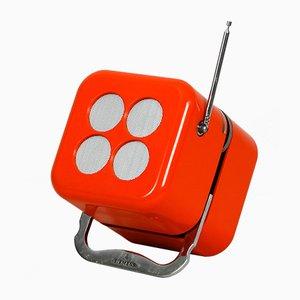 Radio modelo RK 501 Alpha 2 cúbica naranja de Dario & Mario Bellini para Siemens, años 60