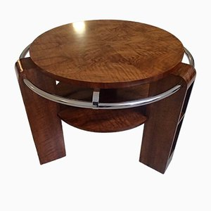 Art Deco Walnut Burr and Chrome Coffee Table, 1930s