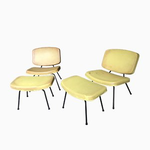 Model CM190 Slipper Chairs and Ottomans by Pierre Paulin for Thonet, 1950s, Set of 4