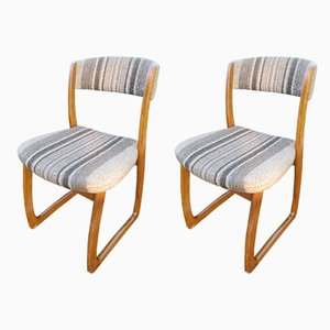 Beech Sled Dining Chairs, 1950s, Set of 2