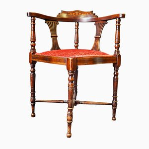 Antique Edwardian Inlaid Mahogany Corner Side Chair