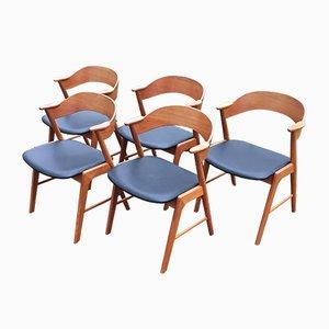 Chaises de Salle à Manger Mid-Century en Teck de Korup Stolefabrik, Set de 5