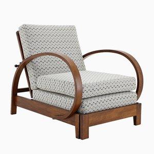 Verstellbarer tschechoslowakischer Sessel mit Gestell aus Buchenholz, 1920er