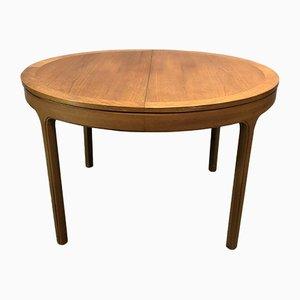 Mesa de comedor redonda de teca, años 70