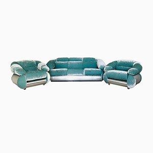 Juego de salón y sofá de terciopelo, años 70. Juego de 3
