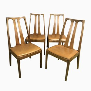 Teak and Leatherette Dining Chairs, 1970s, Set of 4